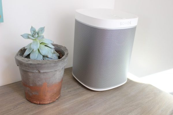 Absolutely love my Sonos speaker for turning up music loud for a big sewing session! Succulent in concrete pot - Geo Fleur