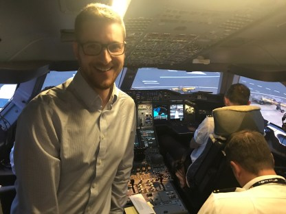 The Ginger Travel Guru on the Qantas A380 flight deck