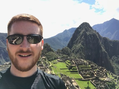 Ginger Travel Guru selfie over Machu Picchu