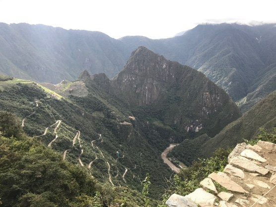 View from the sun gate looking back to Machu Picchu