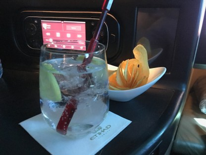 Etihad business class gin and tonic with chips