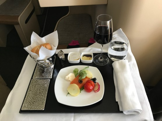 Etihad business class salmon starter