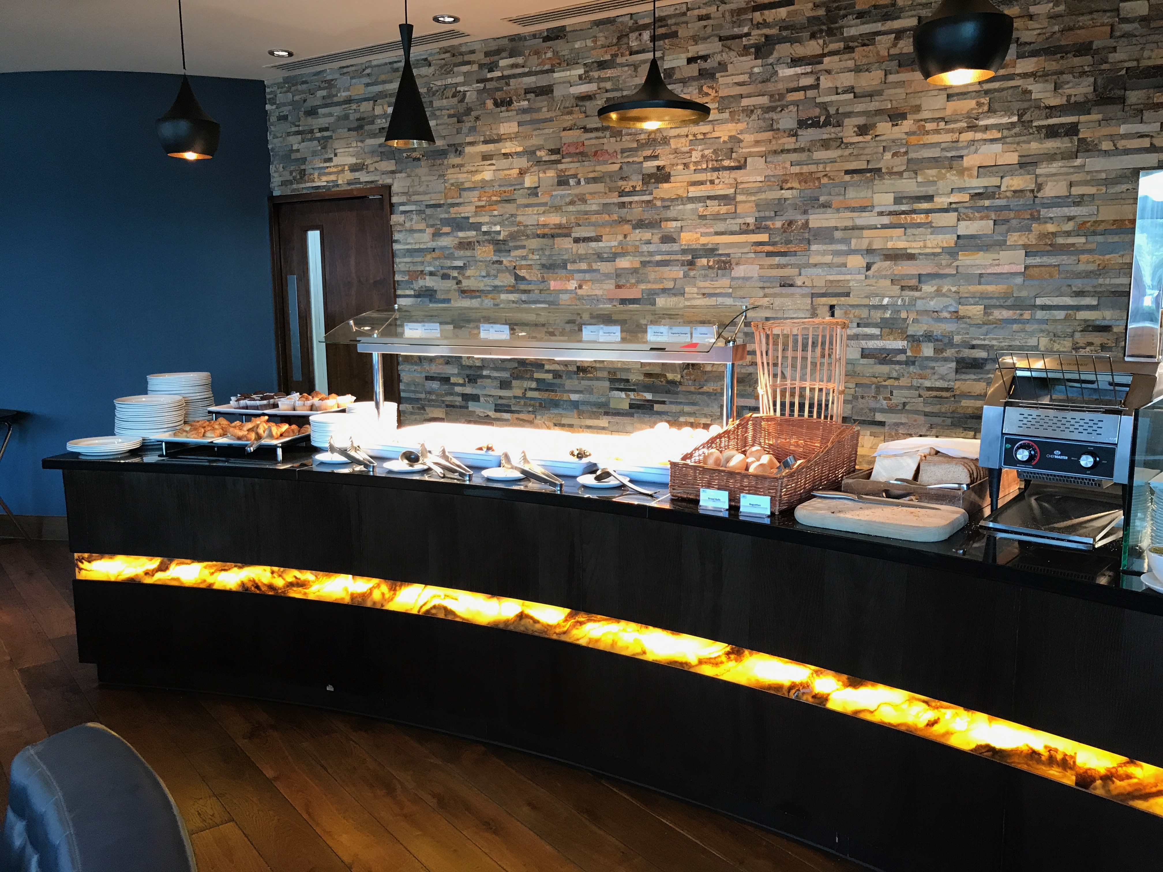 hot breakfast offerings at the aLoft Excel