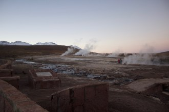 Wide view of the Tatio geyser field