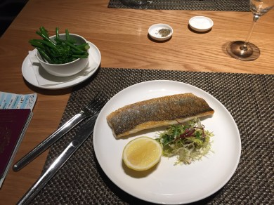 Sea bass at the Qantas First Class Lounge LAX