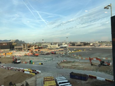View from the Singapore Airlines lounge at Heathrow Terminal 2 over the apron