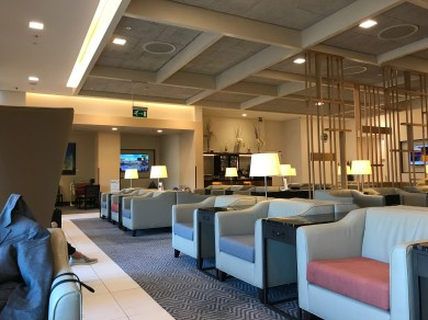 Seating area in the Singapore Airlines lounge at Heathrow Terminal 2