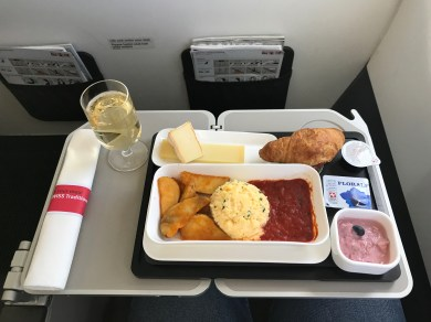 Swiss business class breakfast