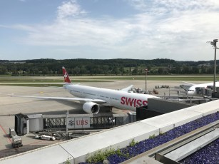 Swiss 777-300 parked at the E gates in Zurich