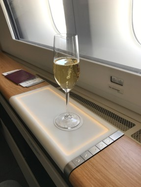 Swiss 777-300 first class glass of champagne