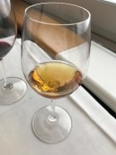 Glass of Chateau Suduirat Sauternes in Swiss First Class