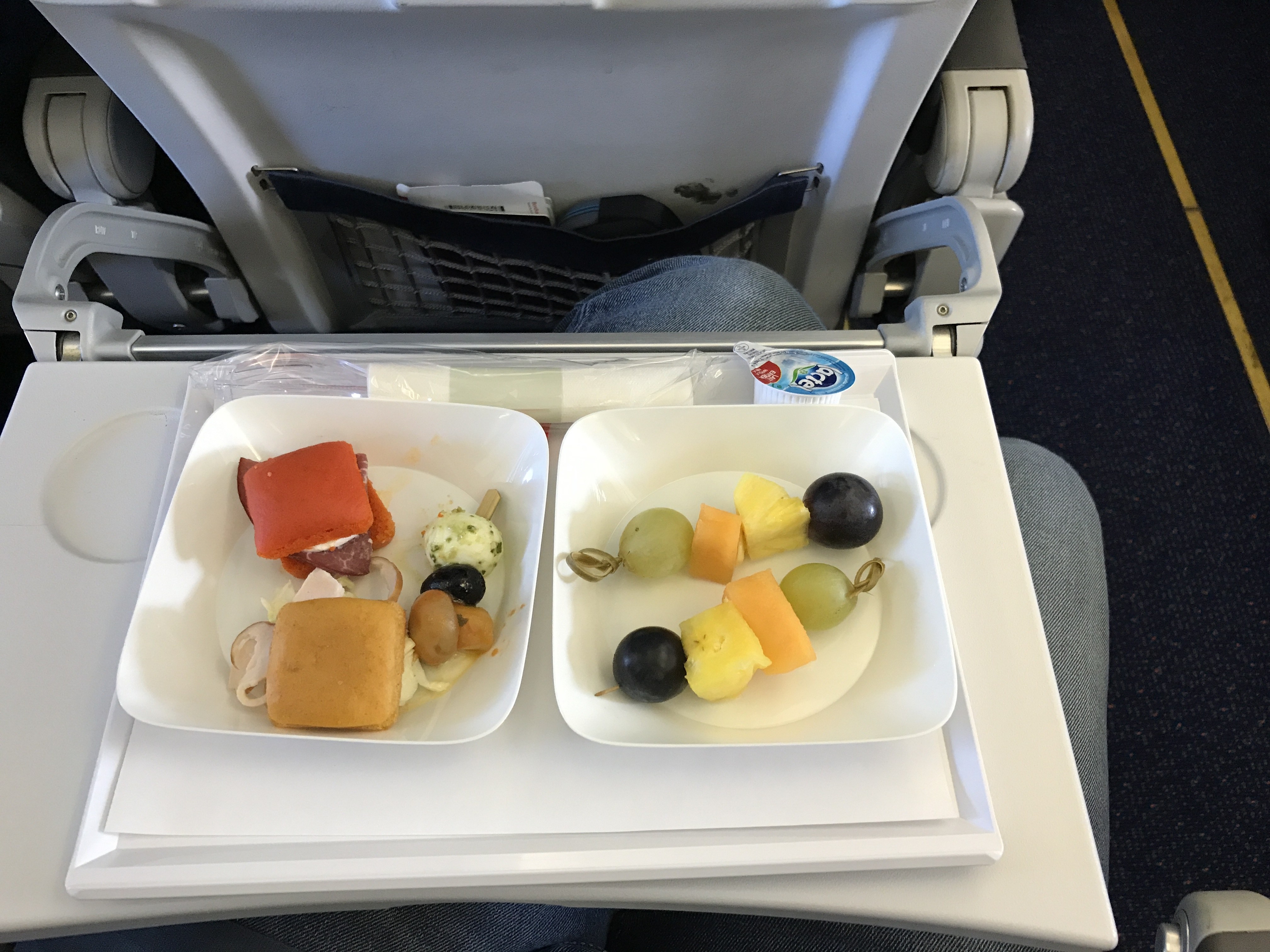 Brussels airlines in flight snack in economy canapés