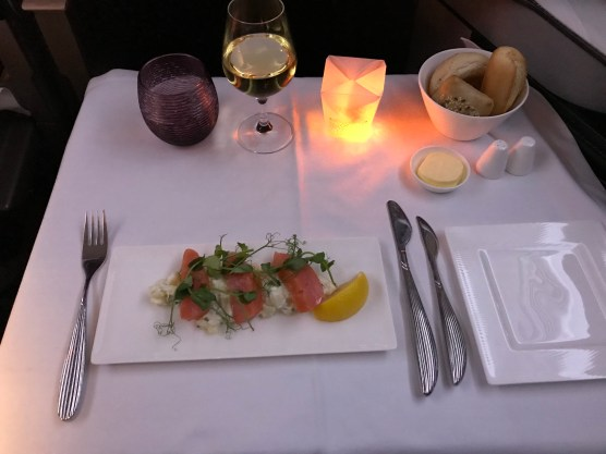 Qatar Airways business class salmon starter