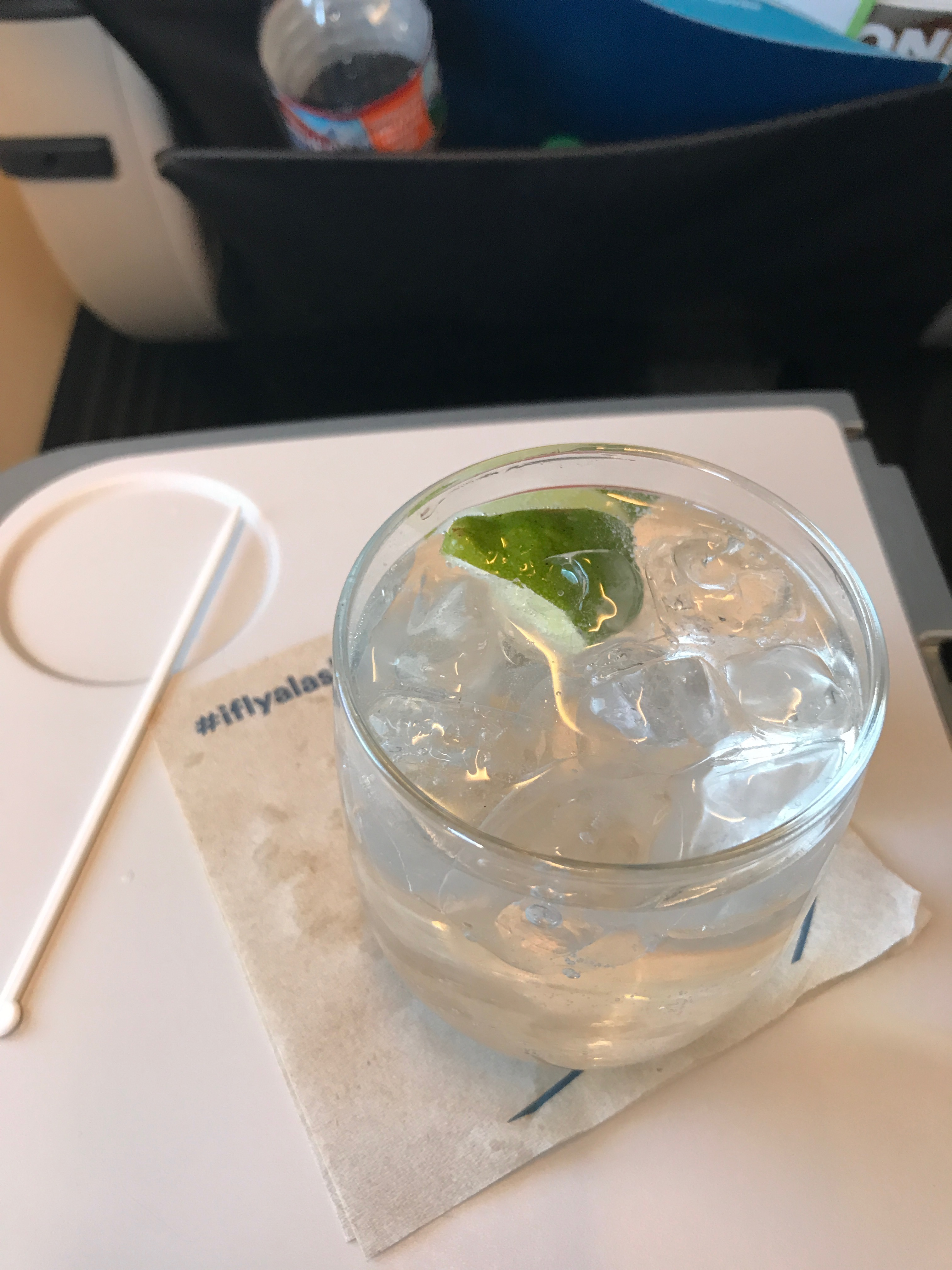 Alaska Airlines first class gin and tonic