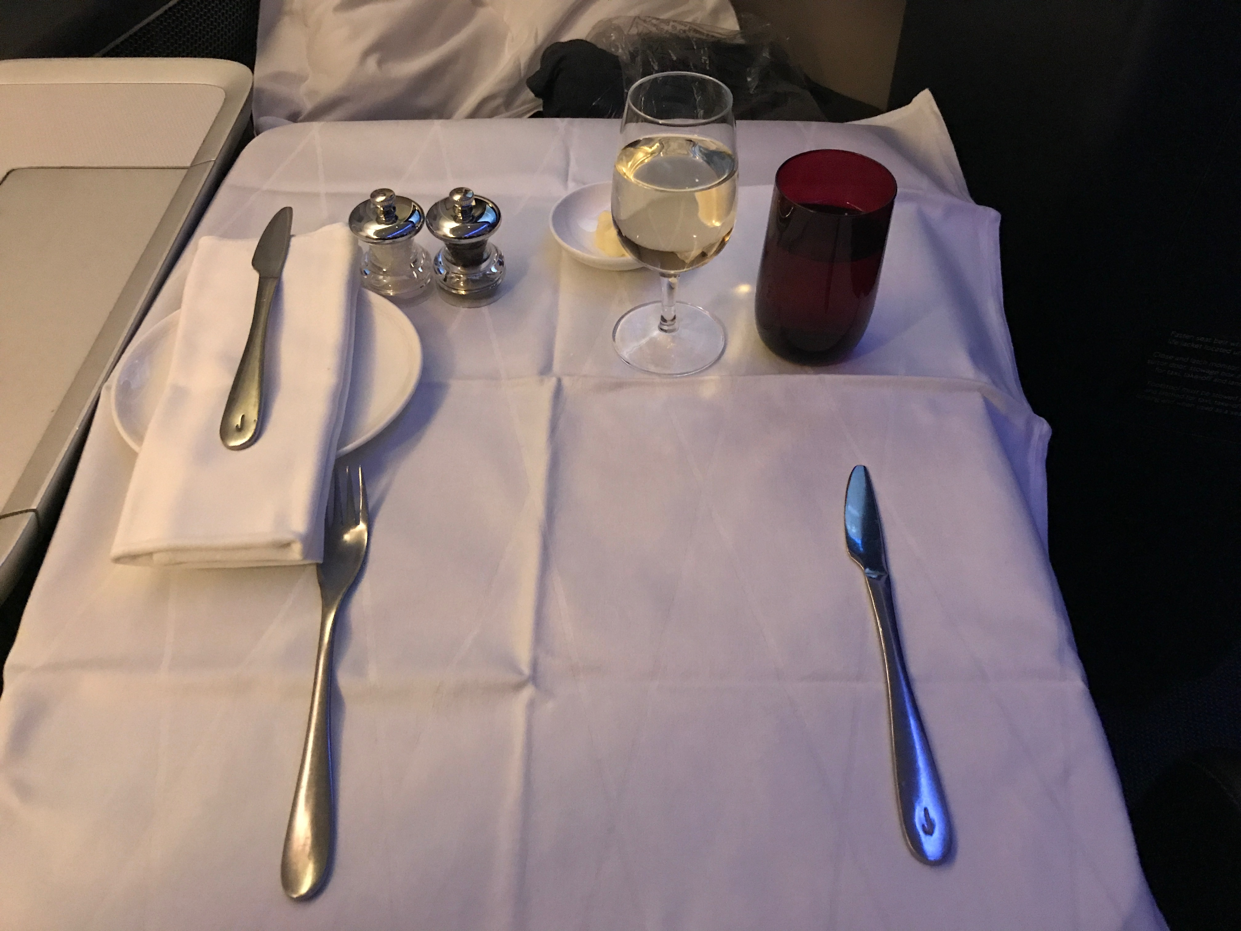 British Airways first class table laid out