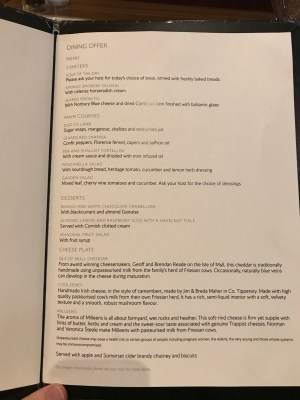 British Airways Concorde Room menu
