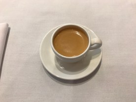 espresso in the cathay pacific lounge at Heathrow terminal 3
