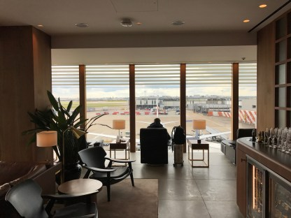 view to the apron from the cathay pacific lounge at Heathrow terminal 3