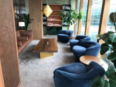 seating and coffee table in the cathay pacific lounge