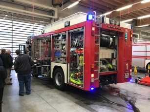 Vienna Airport fire truck with lights on