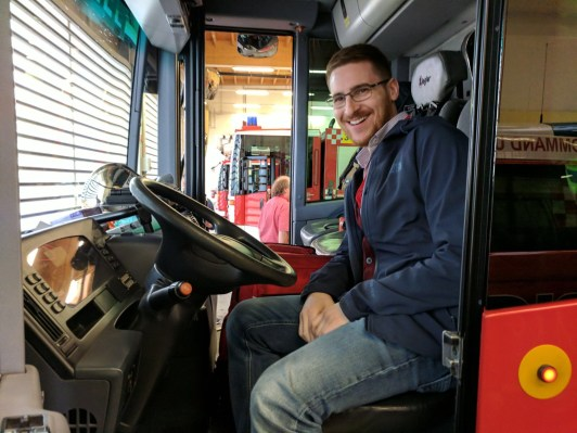Ginger Travel Guru in a Vienna Airport Fire truck