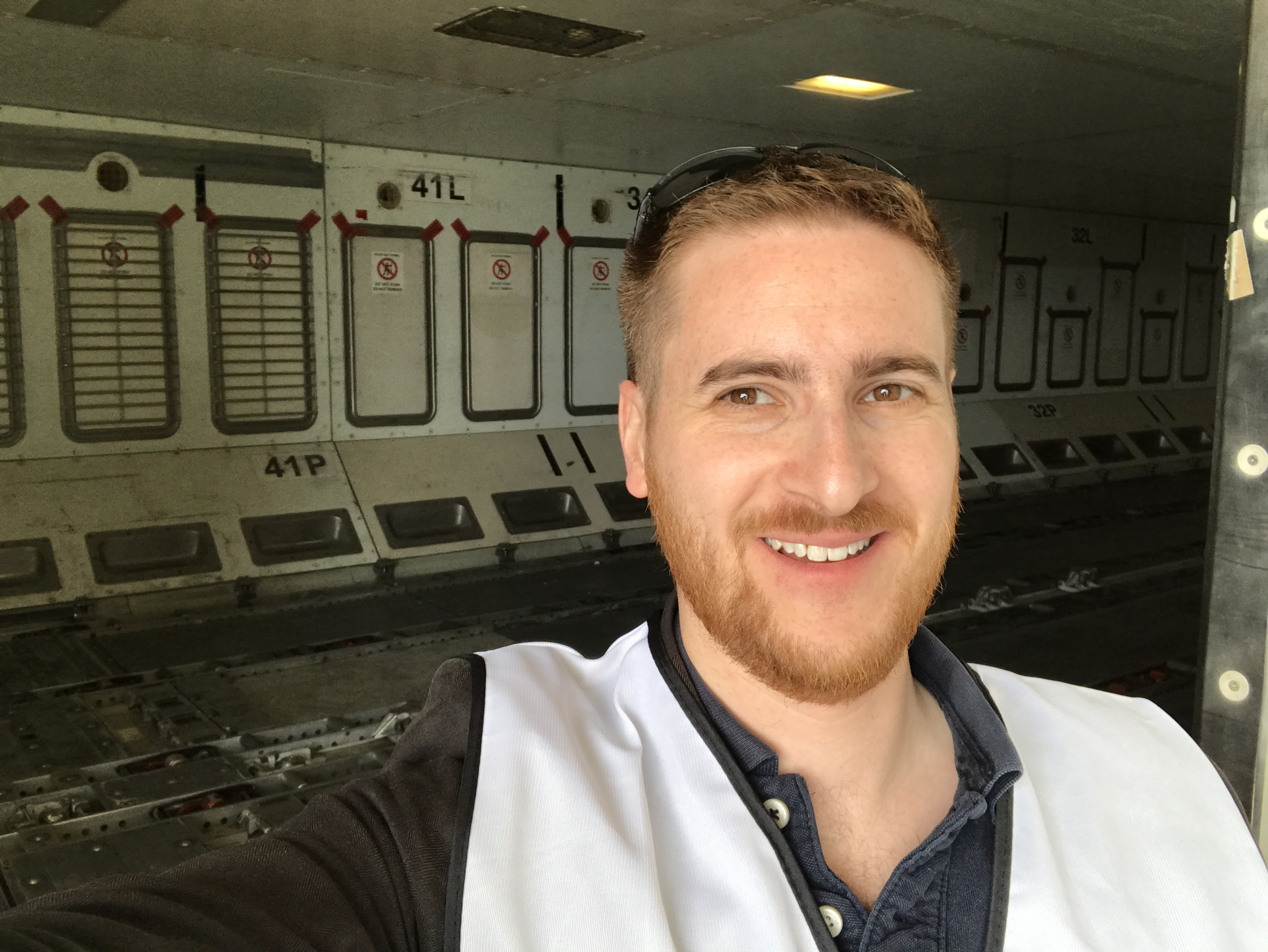The Ginger Travel Guru in the cargo hold of an A330