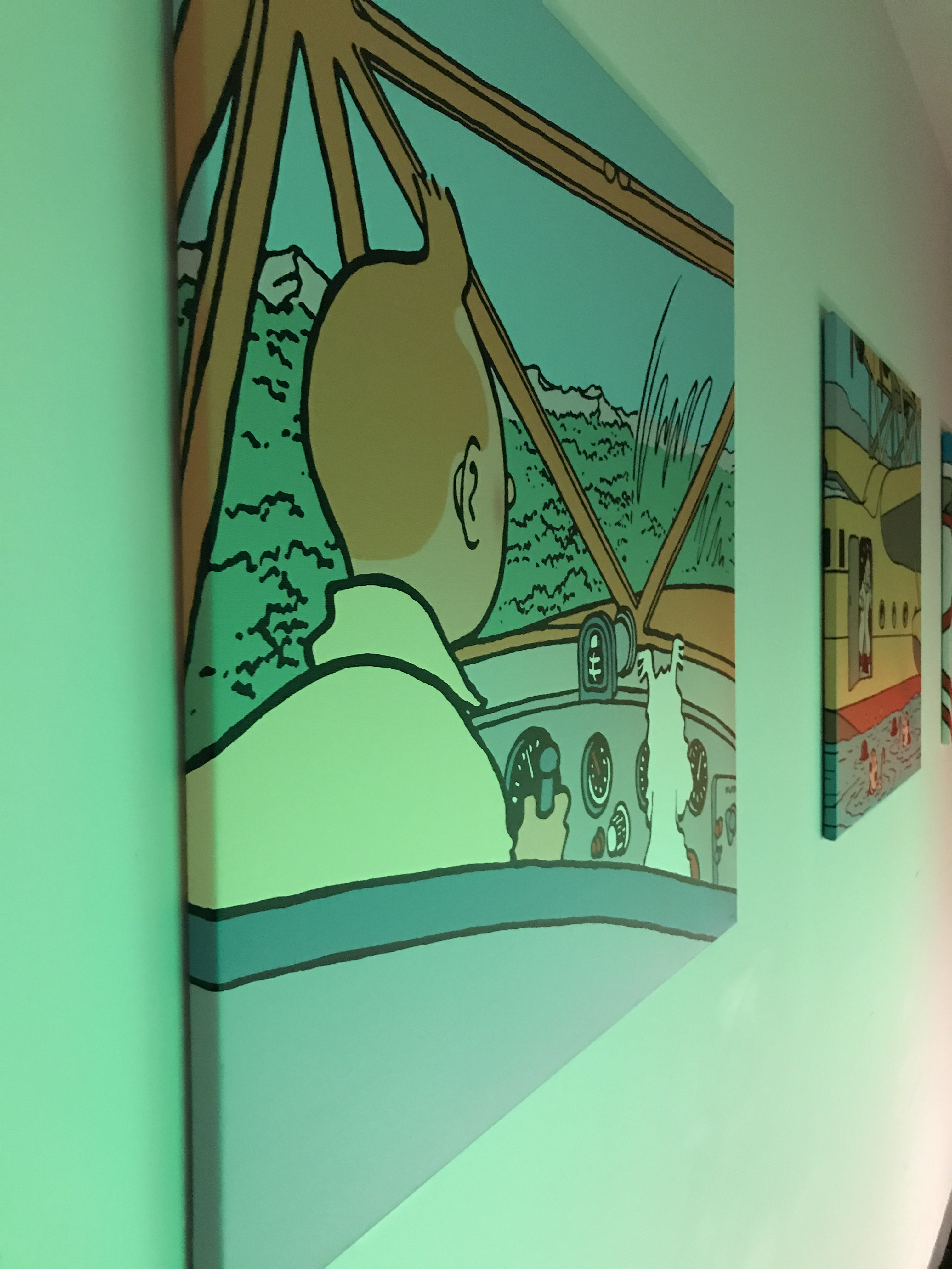Tintin picture on the wall of the loft in Brussels