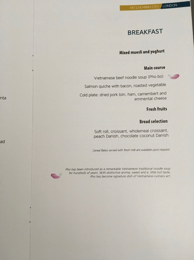 Vietnam Airlines business class breakfast menu
