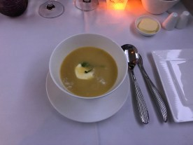 Qatar Airways business class soup