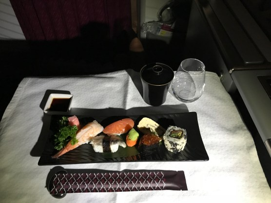 Qatar Airways business class sushi selection