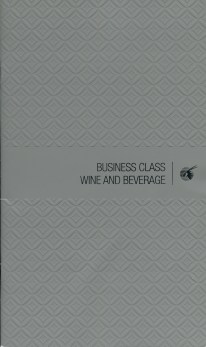 Qatar Airways Business Class Wine list cover