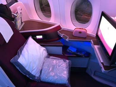 Qatar Airways A350 business class seat 1A from the side