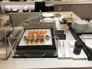 JAL First Class lounge Haneda sushi selection