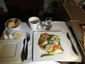 Qatar Airways business class chicken piccata