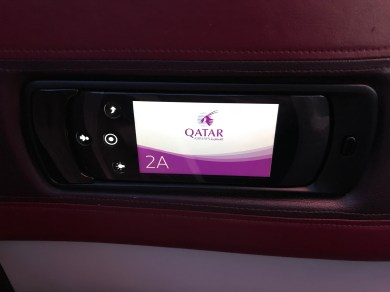 Qatar Airways A350 business class IFE controls