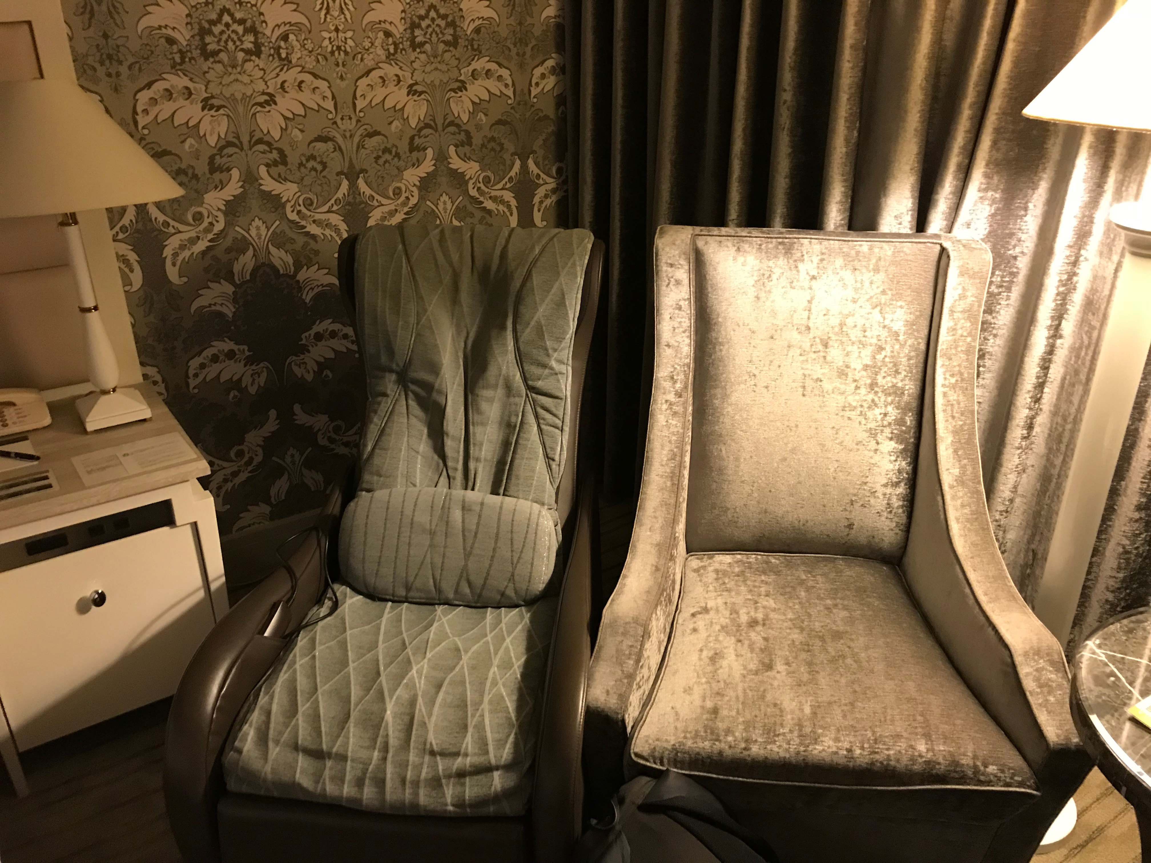 Intercontinental Tokyo Bay chair and massage chair