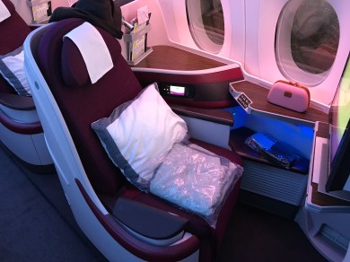 Qatar Airways A350 business class seat 1A looking back