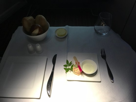 Qatar Airways A350 business class Haneda to Doha amuse bouche