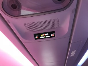 Qatar Airways A350 business class overhead signage
