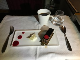 Qatar Airways business class chocolate cake