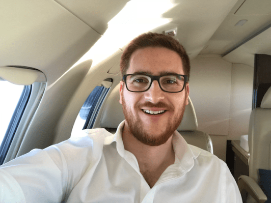 Ginger Travel Guru selfie on the Phenom 300