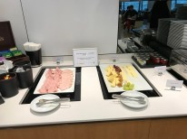 Lufthansa Business Class lounge breakfast cold meats