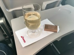Swiss business class champagne and chocolate