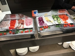 Air Canada Lounge Heathrow panini making service and fillings