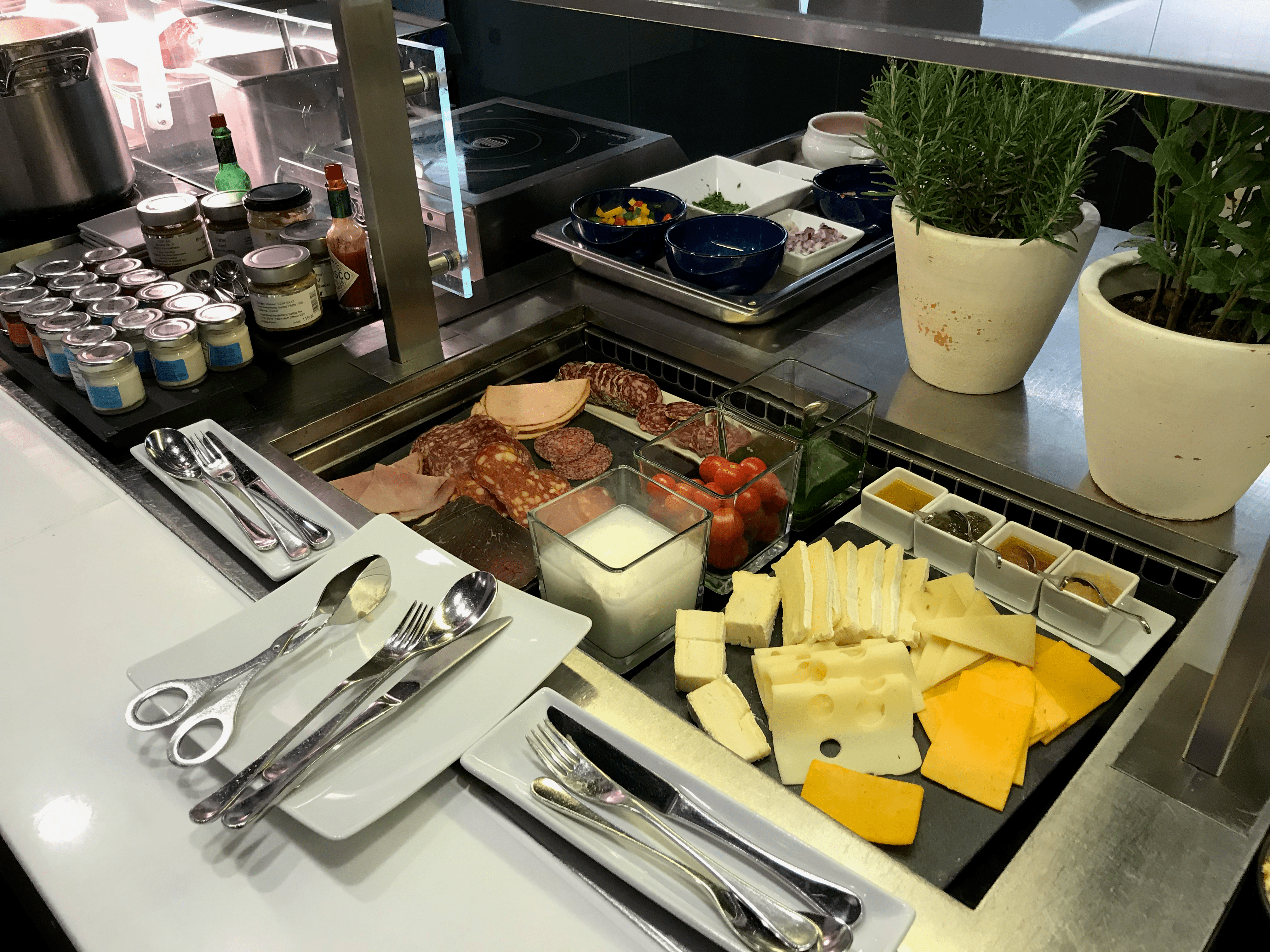Lufthansa First Class Terminal cheese and cold cuts