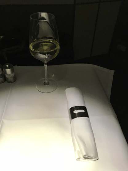 Lufthansa First Class table setting