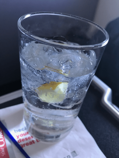 United Airlines gin and tonic