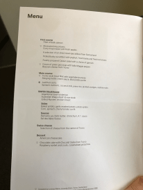 Swiss First Class menu food choices