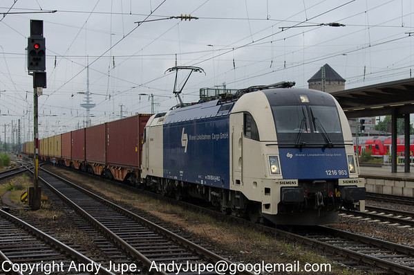 Siemens ES 64 U4 number 1216 953-0 in Wiener Lokalbahnen Cargo GmbH (WLC) livery passes through Bremen Hbf station in Germany on the 18th of May 2013