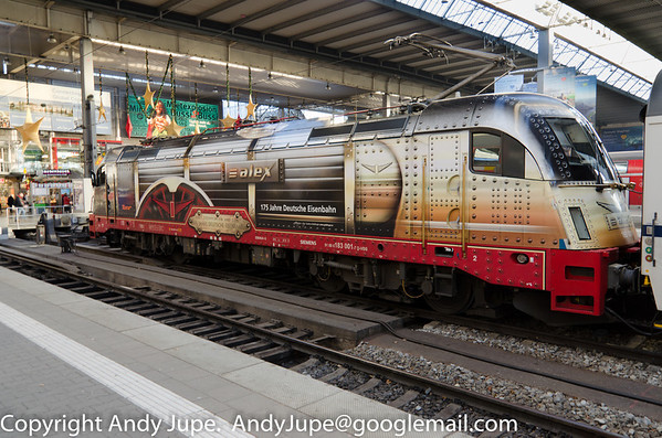 Alex operated Eurosprinter ES 64 U4G number 183 001-7 sits at München Hbf on the evening of the 16th of December 2013
